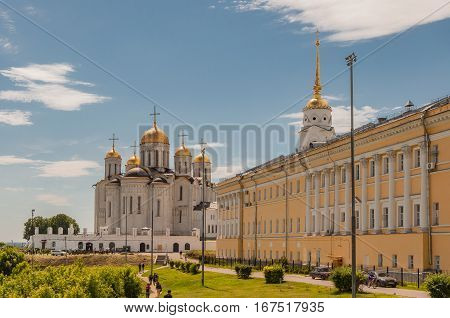 VLADIMIR, RUSSIA - JUNE 7, 2015: Dormition Cathedral or Assumption Cathedral and Bell tower in Vladimir, Russia. UNESCO World Heritage Site
