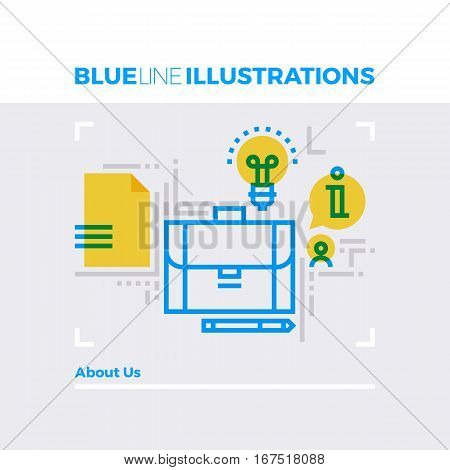 About Us Blue Line Illustration.