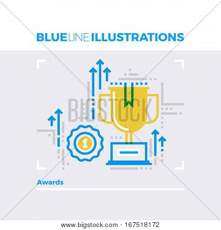 Awards Blue Line Illustration.