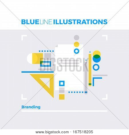 Branding Sketch Blue Line Illustration.