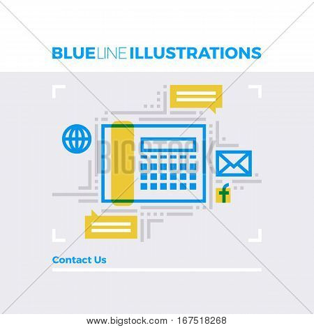 Blue line illustration concept of contact us information and business communication channels. Premium quality flat line image. Detailed line icon graphic elements with overlay and multiply color forms.