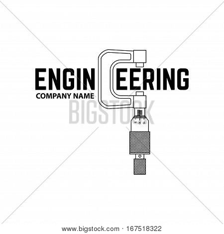Engineering Company Logo Template on the white background. Vector illustration. Engineering symbol for your web site design, logo, app, UI.