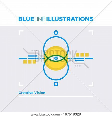 Creative Vision Blue Line Illustration.