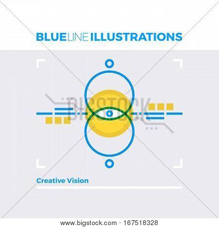 Creative Vision Blue Line Illustration.