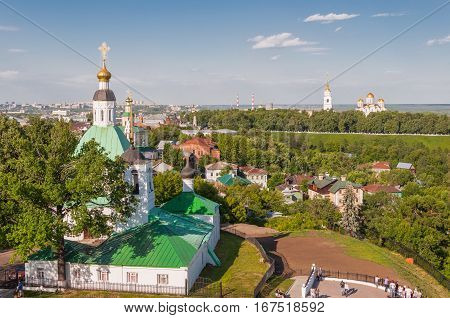 VLADIMIR RUSSIA - JUNE 7 2015: The view of the city of Vladimir and the Orthodox Church Russia. The Golden ring of Russia