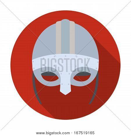 Viking helmet icon in flat design isolated on white background. Vikings symbol stock vector illustration.