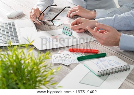 ux designer designing designers web brand phone smartphone layout geek business prototype internet goals sketch plan write idea success solution concept - stock image