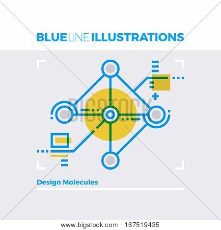 Design Molecules Blue Line Illustration.