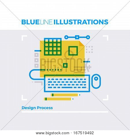 Design Process Blue Line Illustration.
