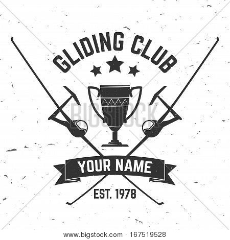 Vector Gliding club retro badge. Concept for shirt, print, seal, overlay or stamp. Typography design- stock vector. Soaring club design with glider plane silhouette.