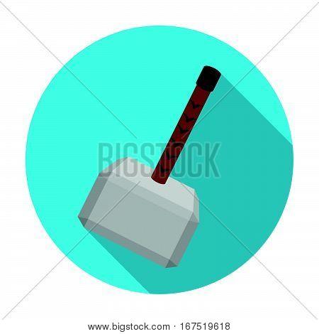 Viking battle hammer icon in flat design isolated on white background. Vikings symbol stock vector illustration.