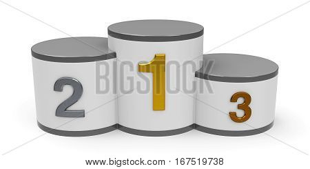 White and gray cylinder podium with three rank places three-dimensional rendering 3D illustration