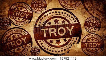troy, vintage stamp on paper background