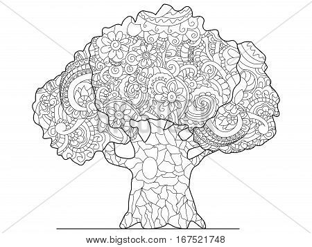 Tree coloring book for adults vector illustration. Anti-stress coloring for adult wood. Zentangle style large herb. Black and white lines listen herb. Lace pattern grower