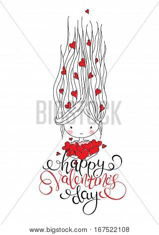 Cute girl with hearts. Doodle vector illustration. Hand drawn lettering. Perfect for Valentine's Day card.