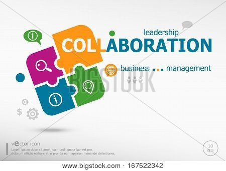 Collaboration Aword Cloud On Colorful Jigsaw Puzzle.