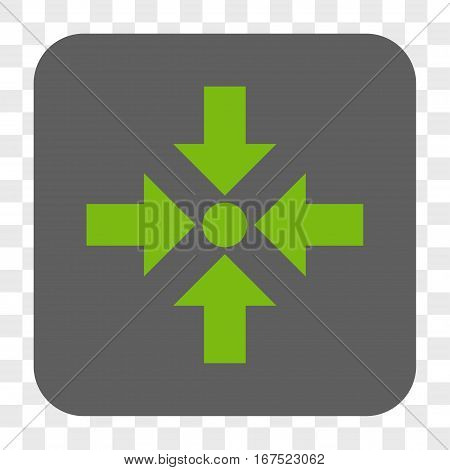 Shrink Arrows interface toolbar button. Vector icon style is a flat symbol inside a rounded square button light green and gray colors chess transparent background.