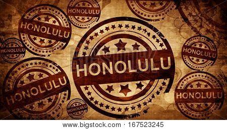 honolulu, vintage stamp on paper background