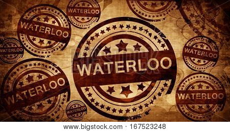 waterloo, vintage stamp on paper background
