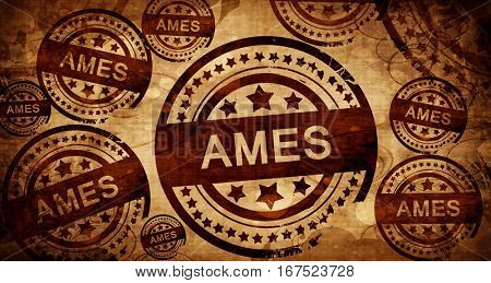 ames, vintage stamp on paper background