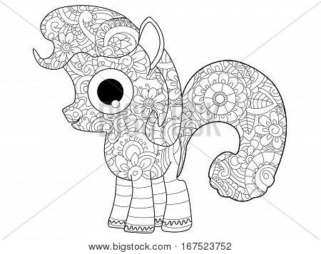 Little horse pony coloring book for adults vector illustration. Anti-stress coloring for adult. Zentangle style nag. Black and white lines listen. Lace pattern