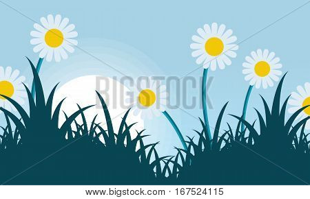 Spring with flower landscape vector collection stock
