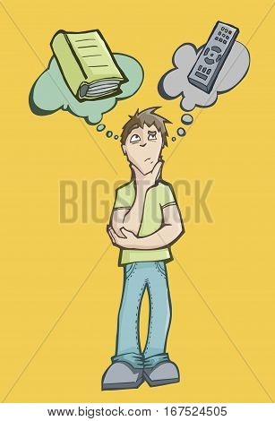 Vector illustration of a man choosing between reading a book or watching television