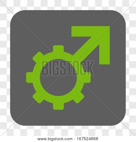 Technological Potence interface toolbar button. Vector icon style is a flat symbol on a rounded square button light green and gray colors chess transparent background.