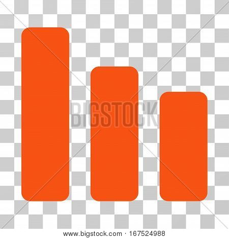 Bar Chart Decrease vector icon. Illustration style is flat iconic orange symbol on a transparent background.