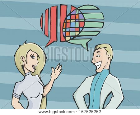 Vector illustration of a young couple having a conversation with their dialogue bubble merging into one