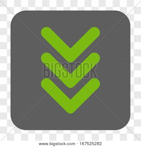 Triple Arrowhead Down interface toolbar button. Vector icon style is a flat symbol in a rounded square button light green and gray colors chess transparent background.