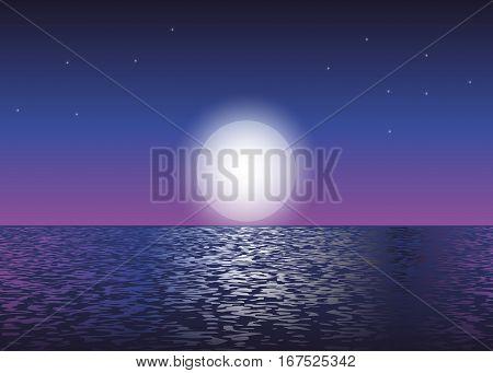 Moon light at the ocean. Vector illustration