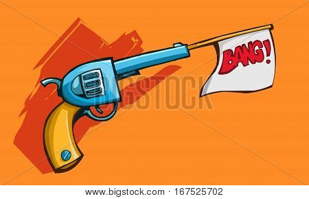 Vector illustration of a old revolver gun shooting out white flag with bang on it.