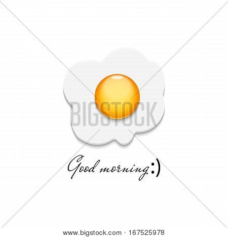 Realistic fried egg icon, detailed 3D closeup omelet, traditional morning breakfast food logo, creative card mockup