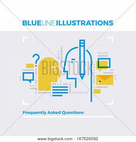 Faq Blue Line Illustration.