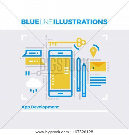 Mobile Platform Blue Line Illustration.