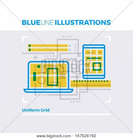 Uniform Grid Blue Line Illustration.