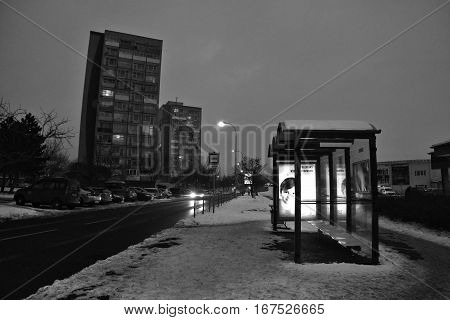 Chomutov, Czech Republic - January 20, 2017: Evening Bezrucova Street With Bus Station On Foreground