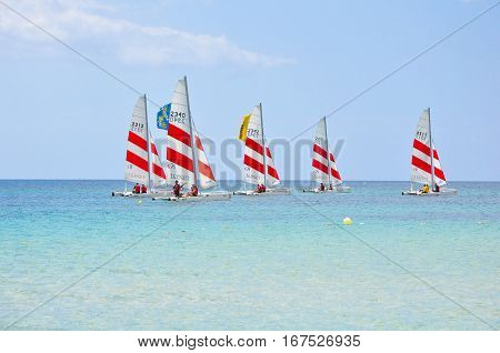Saint-malo France-july 22: Group Of People Learning Catamaran Sailing On The Coast Of Saint-malo Fra