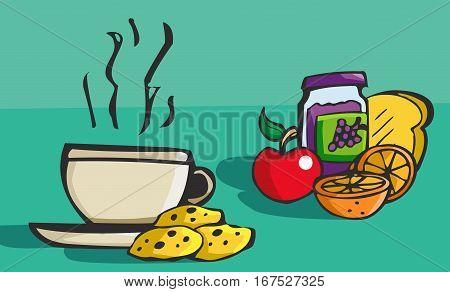 Colorful hand drawn cartoon style breakfast food