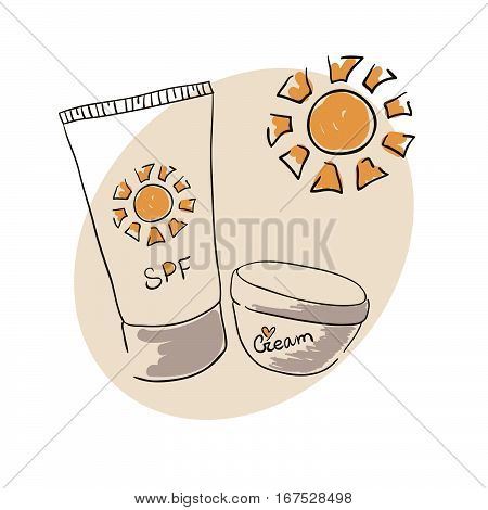 Doodle image sunblock cream for body skin care. Doodle drawing. Hand drawing