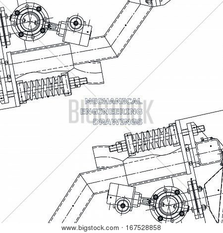 Mechanical engineering the drawing. Technical illustrations. The drawing for technical design. Cover place for inscriptions