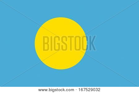 Illustration of the national flag of Palau poster