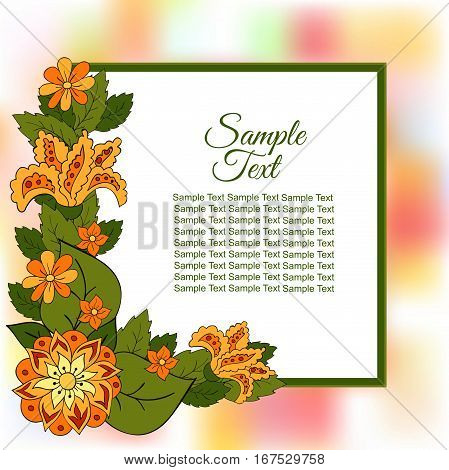 Summer postcard cover bright background for inscriptions. Summer. Flower. Green and orange tones. Sample text. Colourful Summer