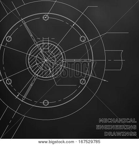Mechanical engineering drawings. Engineering illustration. Black engineering drawing