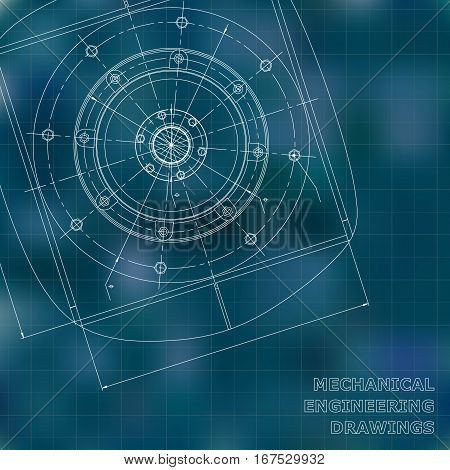 Mechanical engineering drawings. Engineering illustration. Vector background. Blue. Grid