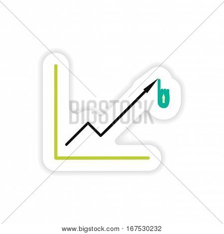 stylish sticker on paper Economic graph on a white background