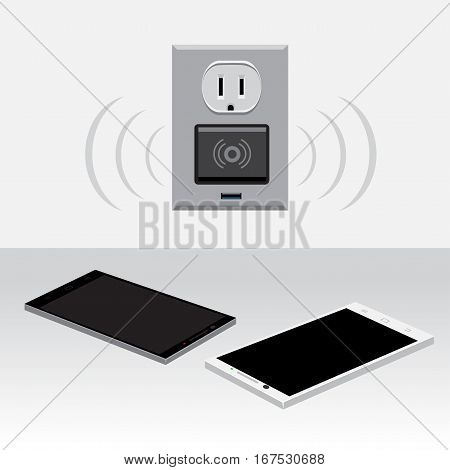 White and black smartphone charging from wireless outlet on light background. Mobile phone charge. Wi-fi adapter
