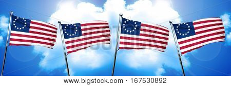 Betsy ross american early design flag, 3D rendering
