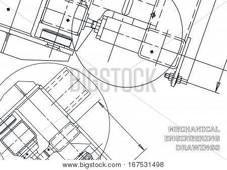 Mechanical Engineering drawing. Mechanical Engineering  Blueprints. Mechanics. Cover